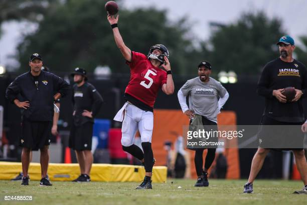 Jacksonville Jaguars quarterback Blake Bortles throws a pass during the Jaguars training camp on July 29 2017 at Florida Blue Health and Wellness...