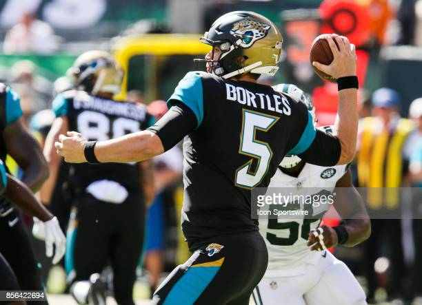 Jacksonville Jaguars quarterback Blake Bortles throws a pass during the National Football League game between the Jacksonville Jaguars and the New...