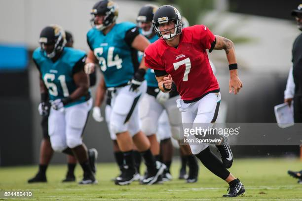 Jacksonville Jaguars quarterback Chad Henne runs during the Jaguars training camp on July 29 2017 at Florida Blue Health and Wellness Practice Field...
