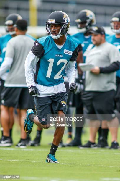 Jacksonville Jaguars rookie wide receiver Dede Westbrook runs through a drill during team OTA workouts at the Jaguars Practice Facility on May 23...