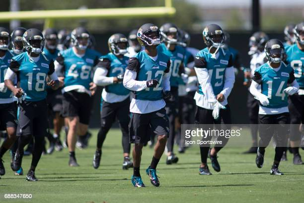 Jacksonville Jaguars rookie wide receiver Dede Westbrook runs through a drill during team OTA workouts at the Jaguars Practice Facility on May 25...