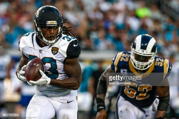 Jacksonville Jaguars running back Chris Ivory catches a pass during the game between the Los Angeles Rams and the Jacksonville Jaguars on October 15...