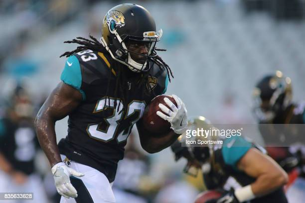 Jacksonville Jaguars running back Chris Ivory warms up before the preseason game against the Tampa Bay Buccaneers on August 17 at EverBank Field in...