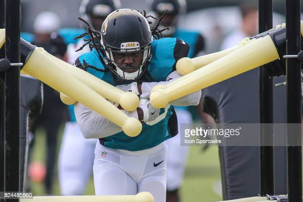 Jacksonville Jaguars running back Chris Ivory works out during the Jaguars training camp on July 29 2017 at Florida Blue Health and Wellness Practice...