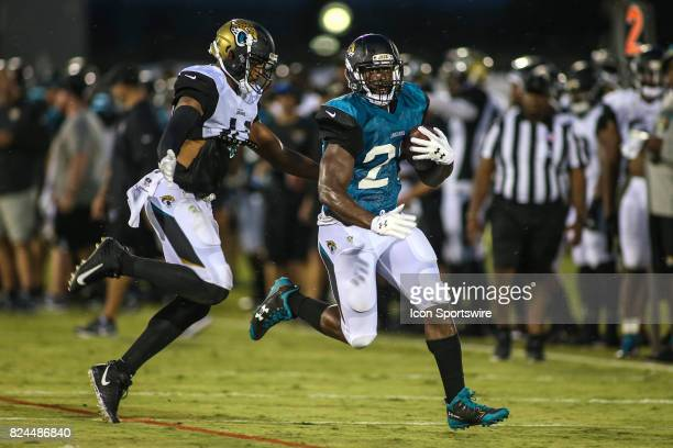 Jacksonville Jaguars running back Leonard Fournette runs with the ball during the Jaguars training camp on July 29 2017 at Florida Blue Health and...