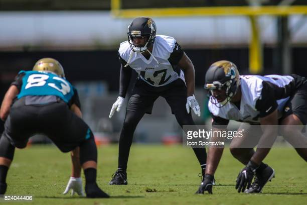 Jacksonville Jaguars safety Barry Church gets ready for a drill during the Jaguars training camp on July 28 2017 at Florida Blue Health and Wellness...