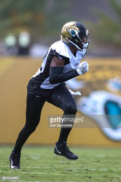 Jacksonville Jaguars safety Barry Church runs during the Jaguars training camp on July 27 2017 at the Florida Blue Health and Wellness Practice Field...