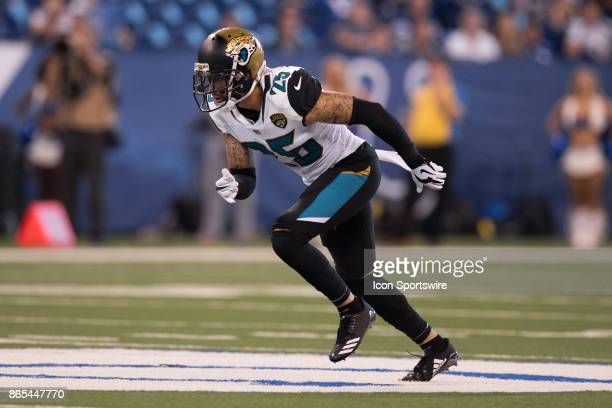 Jacksonville Jaguars safety Peyton Thompson runs to the line of scrimmage during the NFL game between the Jacksonville Jaguars and Indianapolis Colts...