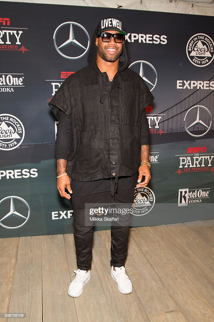 Jacksonville Jaguars tight end Marcedes Lewis arrives at the annual ESPN The Party at Fort Mason Center on February 5, 2016 in San Francisco, California.