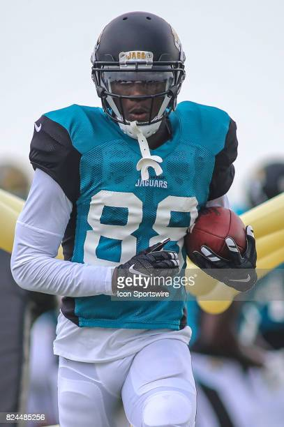 Jacksonville Jaguars wide receiver Allen Hurns works out during the Jaguars training camp on July 29 2017 at Florida Blue Health and Wellness...
