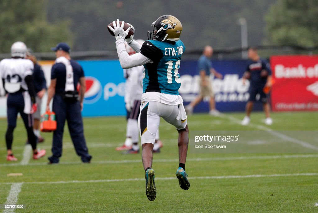 Jacksonville Jaguars wide receiver Amba Etta-Tawo (16) makes a catch during a joint New England Patriots and Jacksonville Jaguars training camp on August 8, 2017, at Gillette Stadium in Foxborough, Massachusetts.