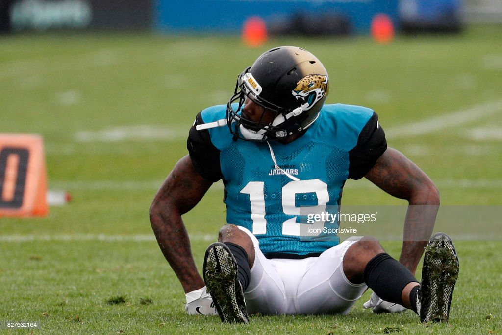 Jacksonville Jaguars wide receiver Jamal Robinson (19) reacts after slipping on the wet turf during a joint New England Patriots and Jacksonville Jaguars training camp on August 8, 2017, at Gillette Stadium in Foxborough, Massachusetts.