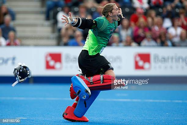 Jacky Briggs of the USA celebrates winning the bronze medal in a penalty shootout during the FIH Women's Hockey Champions Trophy 2016 match between...
