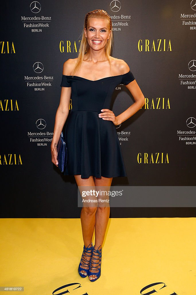 Jacky Hide arrives for the Opening Night by Grazia fashion show during the Mercedes-Benz Fashion Week Spring/Summer 2015 at Erika Hess Eisstadion on July 7, 2014 in Berlin, Germany.