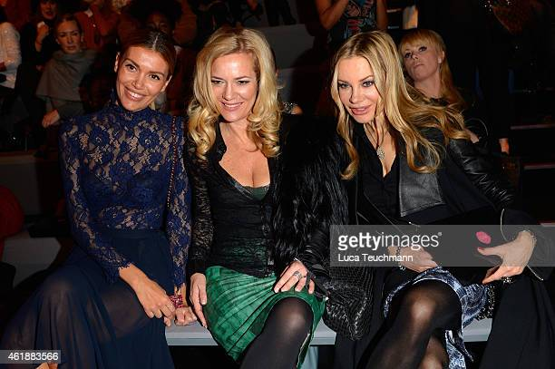 Jacky Hide Jessica Stockmann and Xenia Seeberg attend the Glaw show during the MercedesBenz Fashion Week Berlin Autumn/Winter 2015/16 at Brandenburg...