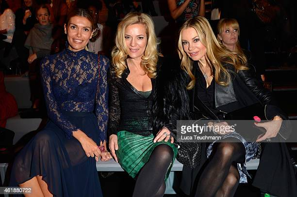 Jacky Hide Jessica Stockmann and Xenia Seeberg attends the Glaw show during the MercedesBenz Fashion Week Berlin Autumn/Winter 2015/16 at Brandenburg...