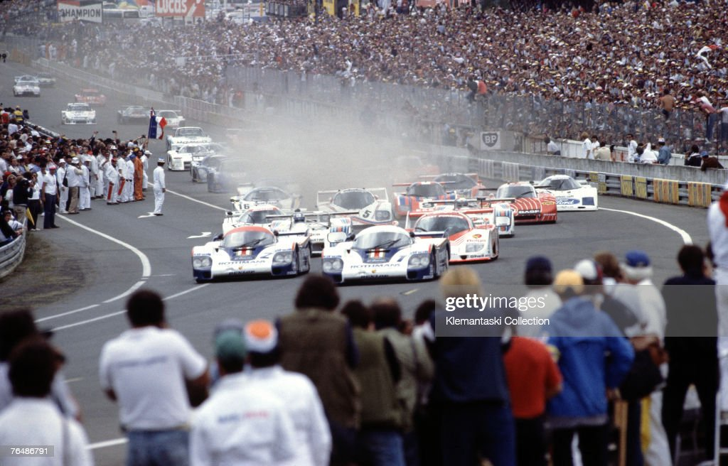Jacky Ickx and Derek Bell in the no 1 Start Porsche 956 leading the 24 Hours of Le Mans race Le Mans June 1982 The no 2 Porsche is driven by Jochen...