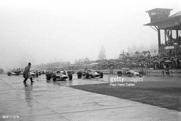 Jacky Ickx Chris Amon Jochen Rindt Jackie Stewart Grand Prix of Germany Nurburgring August 4 1968 The start of the 1968 German Grand Prix at the...