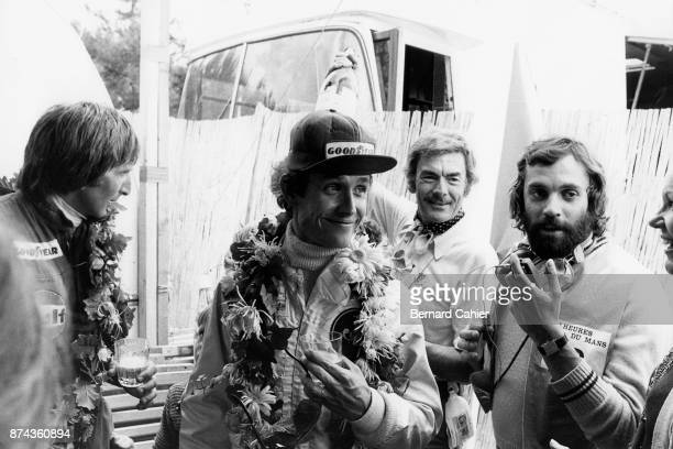 Jacky Ickx Derek Bell 24 Hours of Le Mans Le Mans 15 June 1975 Jacky Ickx with teammate Derek Bell after their victory in the 1975 Le Mans 24 Hours