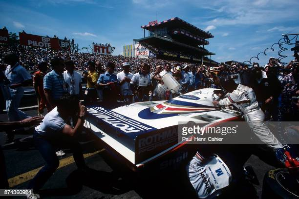 Jacky Ickx Derek Bell Porsche 956 24 Hours of Le Mans Le Mans 20 June 1982 Pit stop and refueling for the victorious Porsche 956 of Jacky Ickx and...