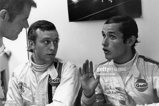 Jacky Ickx Jackie Oliver 24 Hours of Le Mans Le Mans 15 June 1969 Jacky Ickx and Jackie Oliver after their victory in the 1969 24 Hours of Le Mans