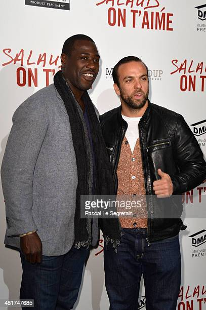Jacky Ido and Le Comte de Bouderbala attend 'Salaud On T'Aime' Paris Premiere at Cinema UGC Normandie on March 31 2014 in Paris France