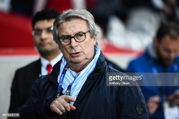Jacky Lorenzetti president of Racing 92 during the Top 14 match between Racing 92 and Clermont Auvergne at Stade PierreMauroy on March 25 2017 in...