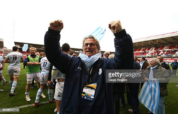 Jacky Lorenzetti the owener of Racing 92 celebrates their victory during the European Rugby Champions Cup semi final match between Leicester Tigers...