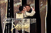 "Jaclyn Jose embraces director Brillante Mendoza after being awarded the Best Actress prize for the movie ""Ma'Rosa"" during the closing ceremony of the..."