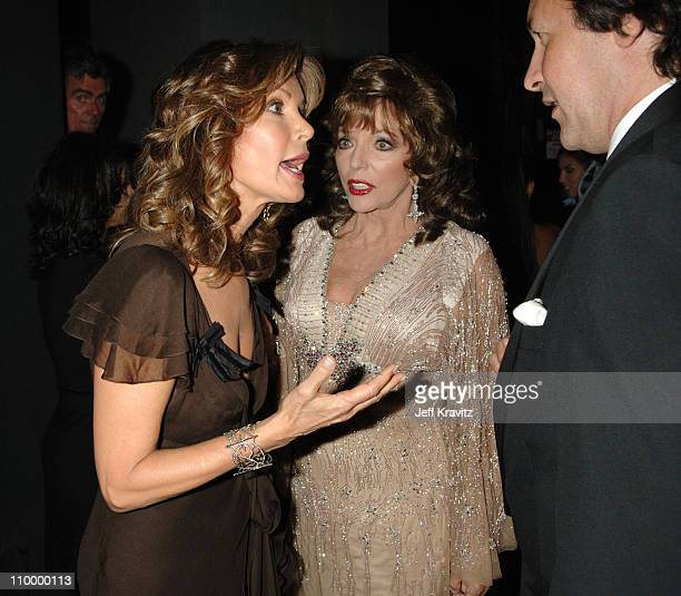 Jaclyn Smith and Joan Collins during 58th Annual Primetime Emmy Awards Backstage at The Shrine Auditorium in Los Angeles California United States