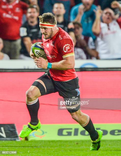 Jaco Kriel of the Lions during the Super Rugby match between Emirates Lions and Cell C Sharks at Emirates Airline Park on April 01 2017 in...