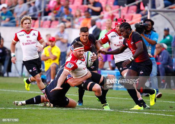 Jaco Kriel of the Lions during the Super Rugby match between Southern Kings and Emirates Lions at Nelson Mandela Bay Stadium on March 25 2017 in Port...