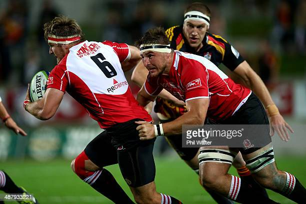 Jaco Kriel of the Lions makes a break during the round 12 Super Rugby match between the Chiefs and the Lions at Waikato Stadium on May 3 2014 in...