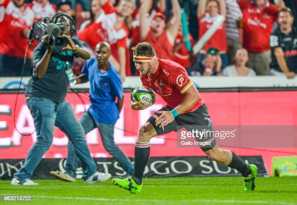 Jaco Kriel of the Lions scores a try during the Super Rugby match between Emirates Lions and Cell C Sharks at Emirates Airline Park on April 01 2017...