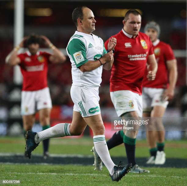 Jaco Peyper the referee looks on during the Test match between the New Zealand All Blacks and the British Irish Lions at Eden Park on June 24 2017 in...