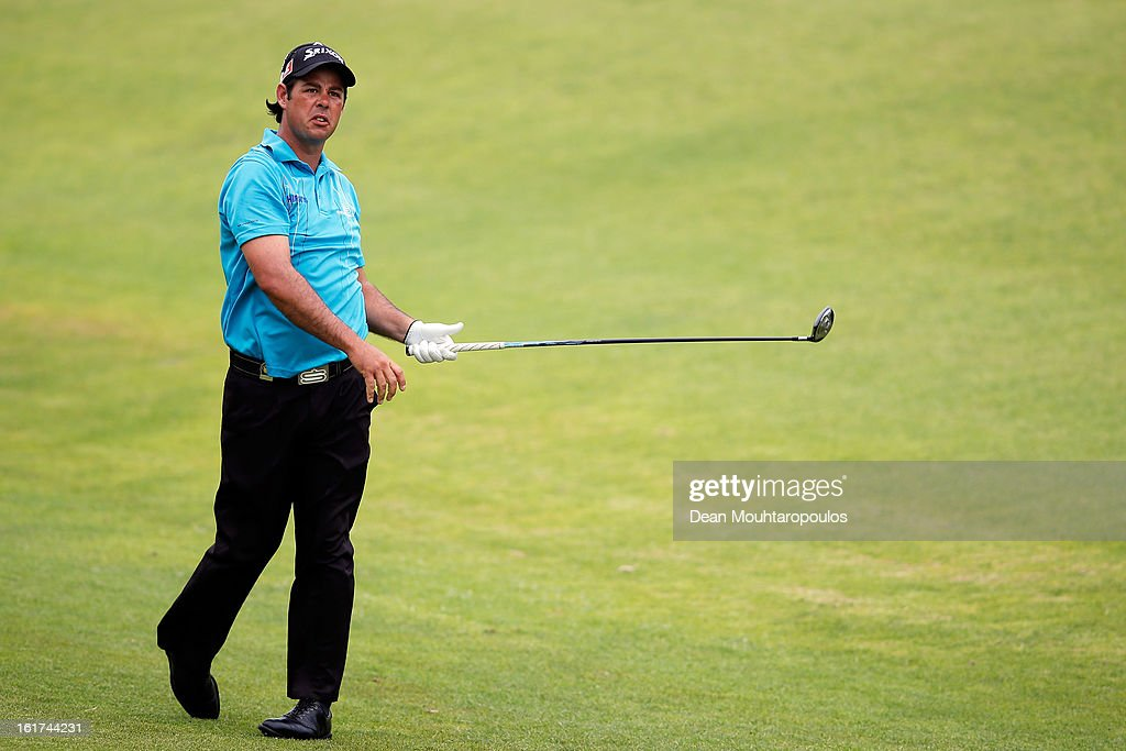 Jaco van Zyl of South Africa hits his second shot on the 3rd hole during Day Two of the Africa Open at East London Golf Club on February 15, 2013 in East London, South Africa.
