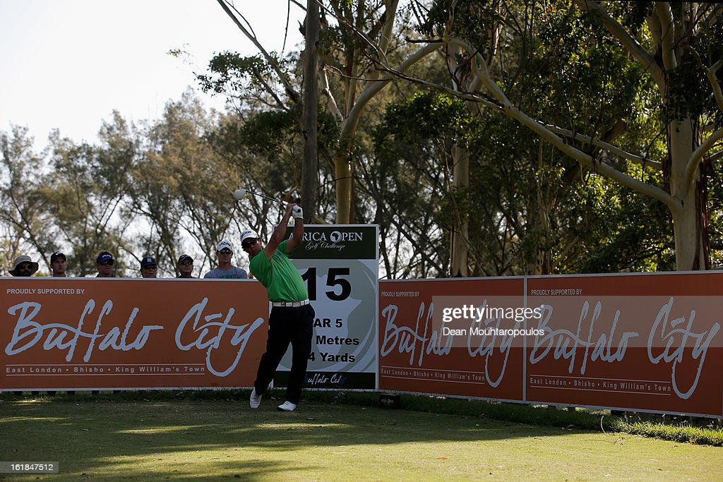 Jaco van Zyl of South Africa hits his tee shot on the 15th hole during Final Day of the Africa Open at East London Golf Club on February 17, 2013 in East London, South Africa.