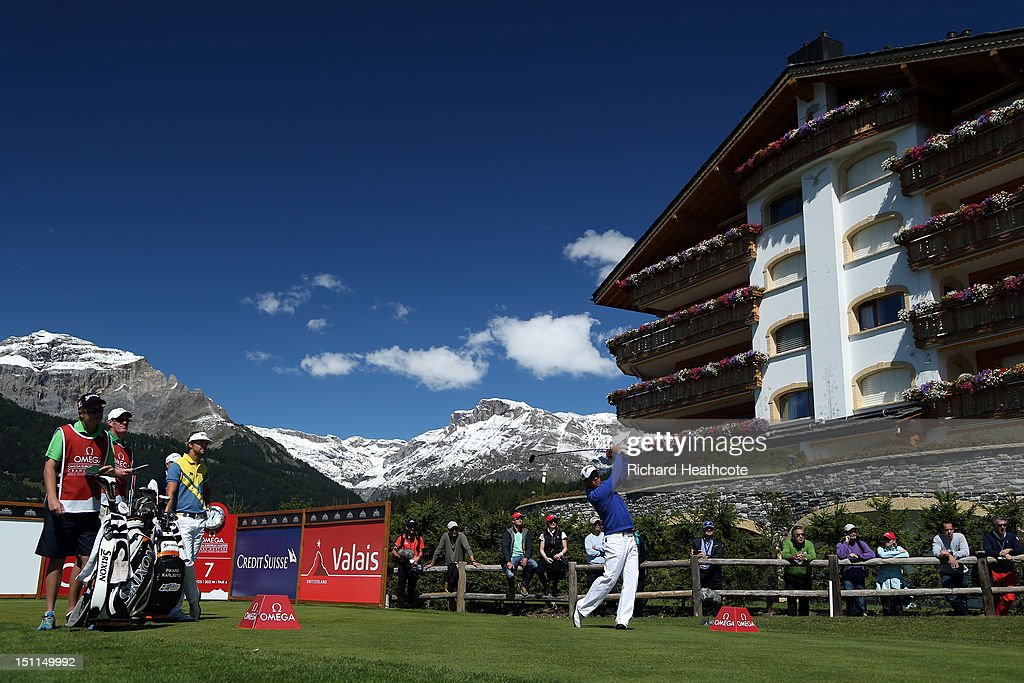 Jaco Van Zyl of South Africa in action during the final round of the Omega European Masters at Crans-sur-Sierre Golf Club on September 2, 2012 in Crans, Switzerland.