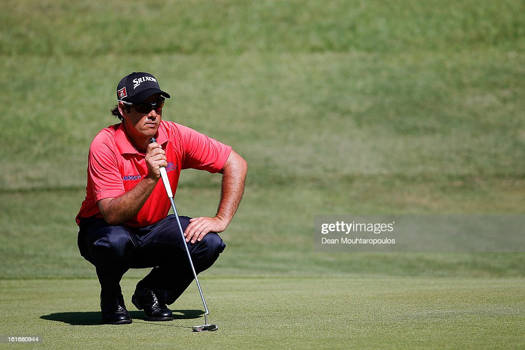 Jaco van Zyl of South Africa lines up a putt on the 7th green during Day One of the Africa Open at East London Golf Club on February 14, 2013 in East London, South Africa.