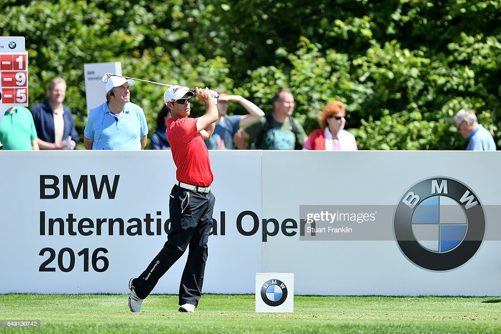 Jaco van Zyl of South Africa tees off during the final round of the BMW International Open at Gut Larchenhof on June 26, 2016 in Cologne, Germany.