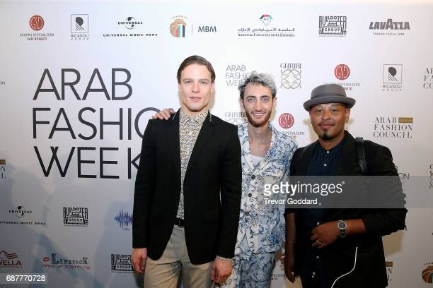 Jacob Abrian Joey Harris Daniel Dejene and Elia Berthoud attend Arab Fashion Week Ready Couture Resort 2018 Gala Dinner on May 202017 at Armani Hotel...