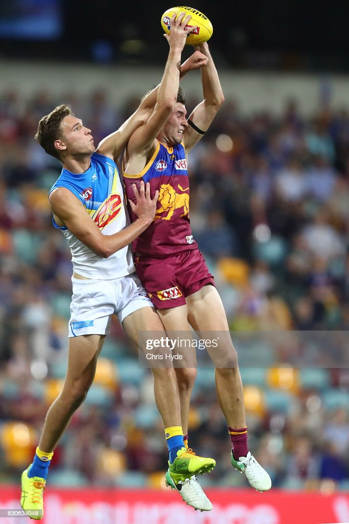 Jacob Allison of the Lions takes a mark during the round 21 AFL match between the Brisbane Lions and the Gold Coast Suns at The Gabba on August 12, 2017 in Brisbane, Australia.