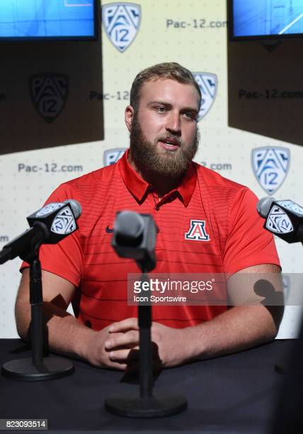 Jacob Alsadek offensive lineman of Arizona addresses the media during the Pac12 Football Media Day on July 26 2017 at Hollywood Highland in Los...