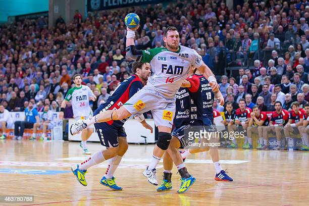 Jacob Bagersted of Magdeburg scores during the Handball Bundesliga match between SG FlensburgHandewitt and SC Magdeburg on February 18 2015 in...