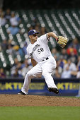 Jacob Barnes of the Milwaukee Brewers pitches during the game against the Los Angeles Dodgers at Miller Park on June 28 2016 in Milwaukee Wisconsin