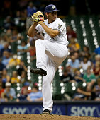 Jacob Barnes of the Milwaukee Brewers pitches in the ninth inning against the Arizona Diamondbacks at Miller Park on July 25 2016 in Milwaukee...