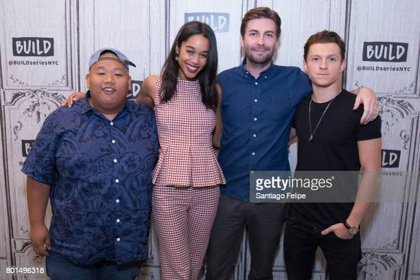 Jacob Batalon Laura Harrier Jon Watts and Tom Halland attend Build Presents to discuss the film 'SpiderMan Homecoming' at Build Studio on June 26...
