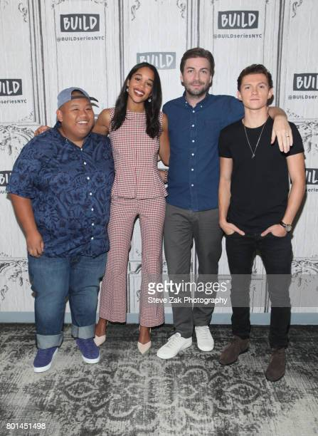 Jacob Batalon Laura Harrier Tom Holland and Jon Watts attend Build Series to discuss their new movie 'SpiderMan Homecoming' at Build Studio on June...