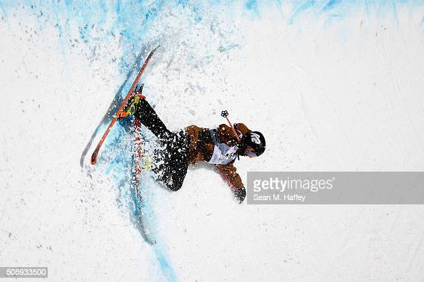 Jacob Beebe falls in the Halfpipe on a practice run during the 2016 Visa US Freeskiing Grand Prix at Mammoth Mountain Resort on January 20 2016 in...