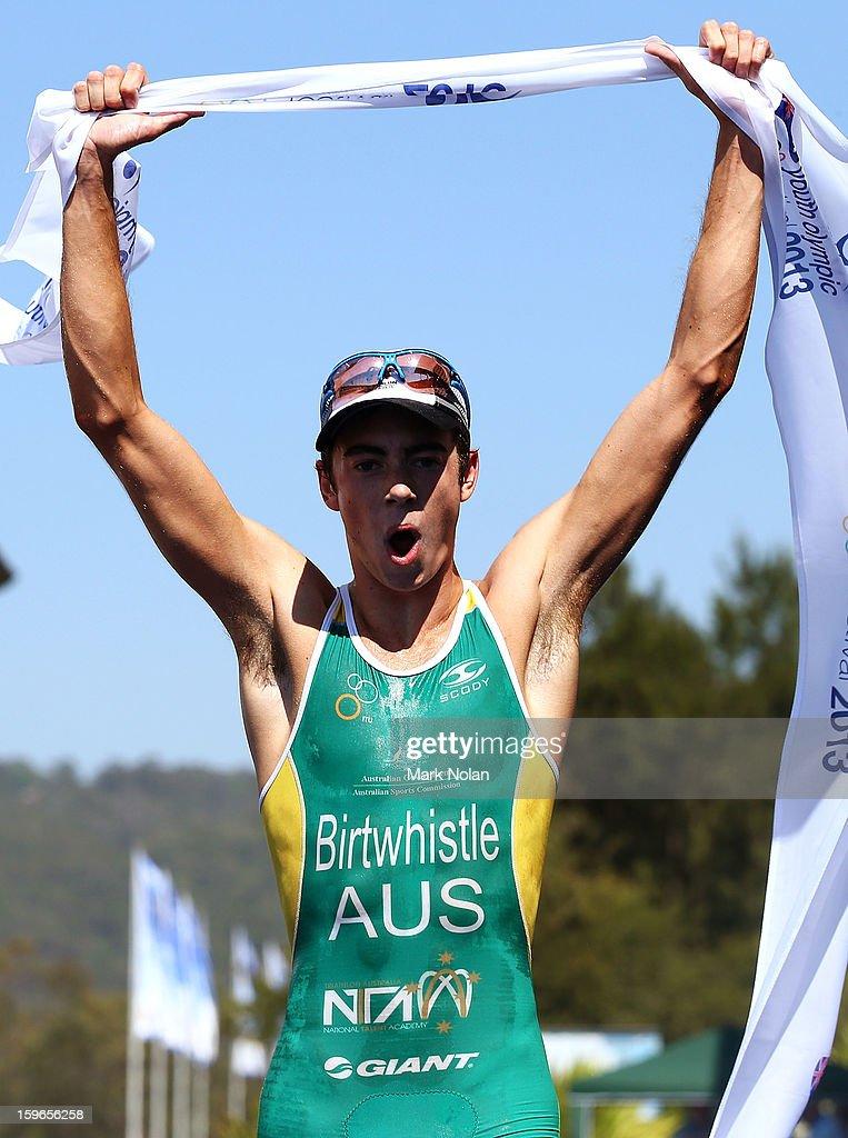 Jacob Birtwhistle of Australia wins the Mens Triathlon during day three of the 2013 Australian Youth Olympic Festival at the Sydney International Regatta Centre on January 18, 2013 in Sydney, Australia.